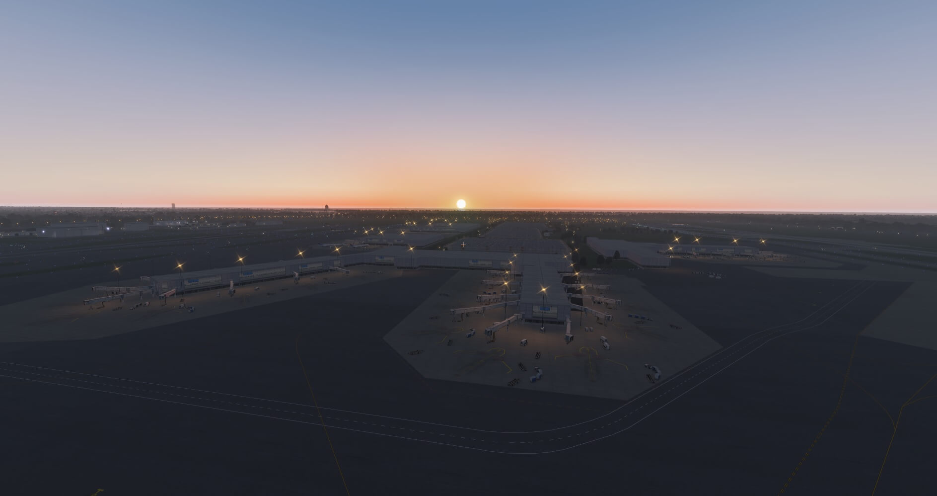 KFLL at sunset in X-Plane 11